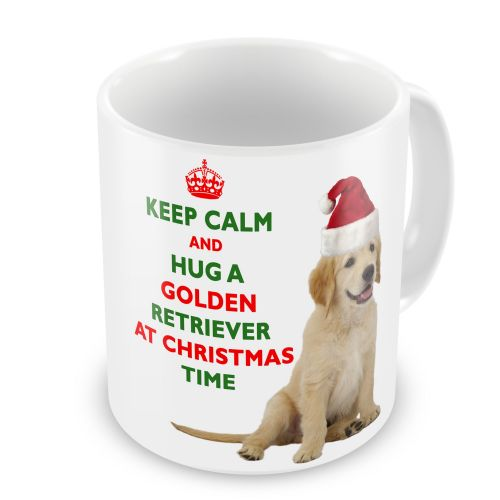 Christmas Keep Calm And Hug A Golden Retriever Novelty Gift Mug